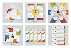 Collection of 6 design template/graphic or website layout. Vector Background. Stock Image