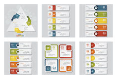 Collection of 6 design template/graphic or website layout. Vector Background. Royalty Free Stock Images