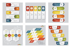 Collection of 6 design template/graphic or website layout. Vector Background. Royalty Free Stock Photography