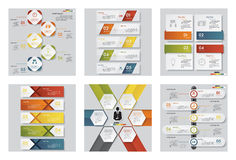 Collection of 6 design template/graphic or website layout. Vector Background. Royalty Free Stock Photos