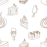 Collection of desserts. Sketches of desserts hand-drawn. Seamless patten. Vector illustration vector illustration