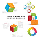 Collection of diagram schema templates Stock Images