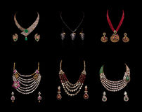 Collection of diamond neclaces with earrings Royalty Free Stock Photos