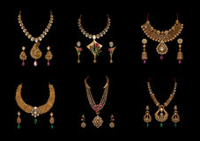 Collection of diamond neclaces with earrings Stock Images