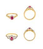 Collection of diamond rings Stock Photos