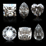 Collection diamonds diferent shapes Stock Images