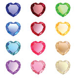 Collection of diamonds in the shape of heart Royalty Free Stock Photography
