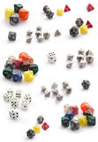 Collection of dices isolated on white. Collection  of RPG dices isolated on white Stock Photo