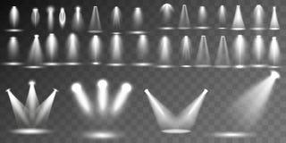Collection différente de formes et de projections d'illumination de scène, effets spéciaux transparents Éclairage lumineux avec d illustration stock