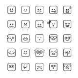 Collection of difference emoji line linear icon on the white bac Royalty Free Stock Photo