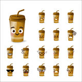 Collection of difference emoticon beverage drink cartoon on whit Royalty Free Stock Photos