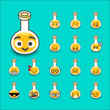 Collection of difference emoticon bottle test tube chemical lab. Cartoon  illustration Royalty Free Stock Photo