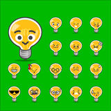 Collection of difference emoticon bulb lamp cartoon. Vector illustration Royalty Free Stock Images