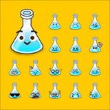 Collection of difference emoticon flask icon test tube chemical Royalty Free Stock Photo