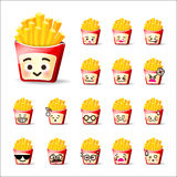 Collection of difference emoticon french fries cartoon on white Stock Image