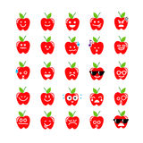 Collection of difference emoticon icon of apple on the white bac Stock Photography