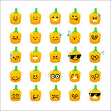 Collection of difference emoticon icon of Bell pepper cartoon on Royalty Free Stock Photos