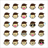 Collection of difference emoticon icon of boy cartoon on the whi Stock Photo
