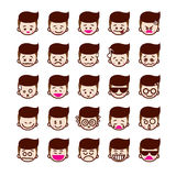 Collection of difference emoticon icon of boy icon on the white Royalty Free Stock Image