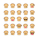 Collection of difference emoticon icon of bread icon on the whit Royalty Free Stock Photo