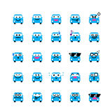 Collection of difference emoticon icon of car on the white Stock Images