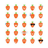 Collection of difference emoticon icon of carrot on the white ba Royalty Free Stock Photos