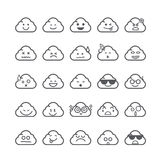 Collection of difference emoticon icon of cloud icon on the whit Royalty Free Stock Photo