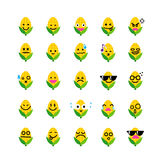 Collection of difference emoticon icon of corn on the white back Stock Photography