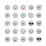 Collection of difference emoticon icon of gear on the white back Royalty Free Stock Photography