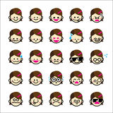 Collection of difference emoticon icon of girl cartoon on the wh Royalty Free Stock Photo