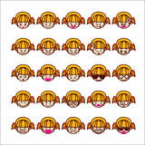 Collection of difference emoticon icon of girl icon on the white Royalty Free Stock Photography