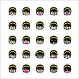Collection of difference emoticon icon of girl icon on the white Royalty Free Stock Photos