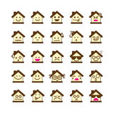 Collection of difference emoticon icon of house on the white bac Royalty Free Stock Photo