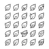 Collection of difference emoticon icon of leaf on the white back. Collection of difference emoticon leaf icon on the white background vector illustration Stock Images