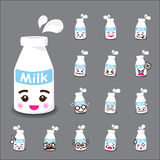 Collection of difference emoticon icon of milk cartoon on grey b Stock Photography