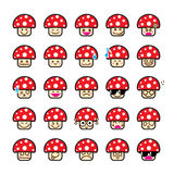 Collection of difference emoticon icon of mushroom cartoon on th Stock Photography