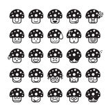 Collection of difference emoticon icon of mushroom icon black an Stock Photos
