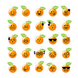 Collection of difference emoticon icon of orange icon on the whi Stock Photo