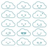 Collection of difference emoticon. Icon set of clouds. On the white background Royalty Free Stock Photography