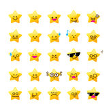 Collection of difference emoticon icon of star cartoon on the wh Royalty Free Stock Photo