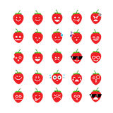 Collection of difference emoticon icon of strawberry on the whit Royalty Free Stock Photo