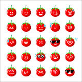 Collection of difference emoticon icon of tomato cartoon on the Stock Image