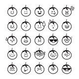 Collection of difference emoticon icon of tomato. Isolated on the white background  illustration Stock Photography