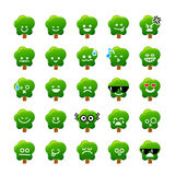 Collection of difference emoticon icon of Tree cartoon on the wh Royalty Free Stock Photo