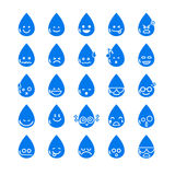 Collection of difference emoticon icon of water drop on the whit Stock Photos