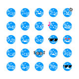 Collection of difference emoticon icon of world cartoon on the w Royalty Free Stock Photos