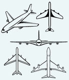 Collection of different airplane Stock Photo