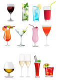 Collection of different alchoolics and soft drinks - Clip art set Royalty Free Stock Photo