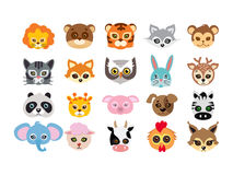 Collection of Different Animal Masks on Faces Royalty Free Stock Photos