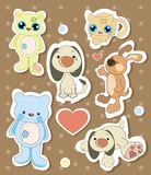 Collection of different animal stickers Royalty Free Stock Photo